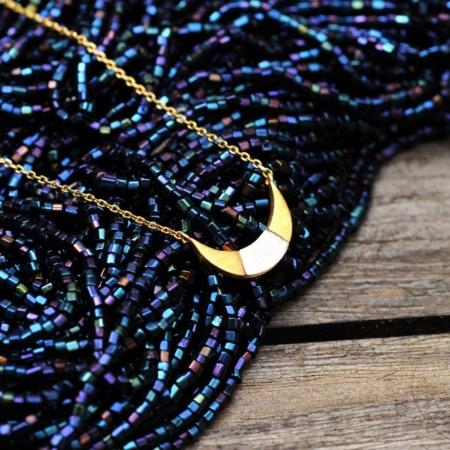 Bijoux 7bis Collier Croissant De Lune Bicolore