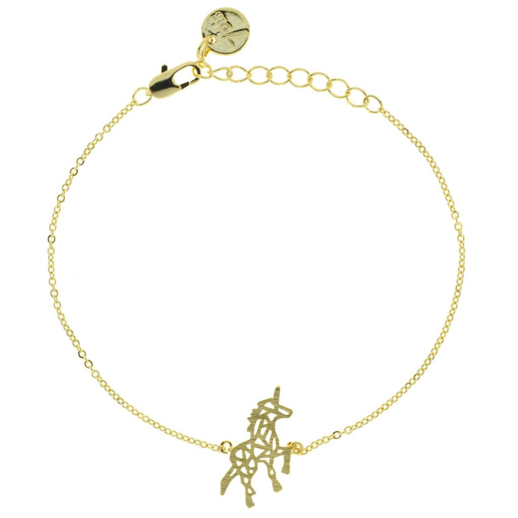 337149DOR Bracelet Licorne Doré Origami Géométrique Collection Les Animaux Fantastiques