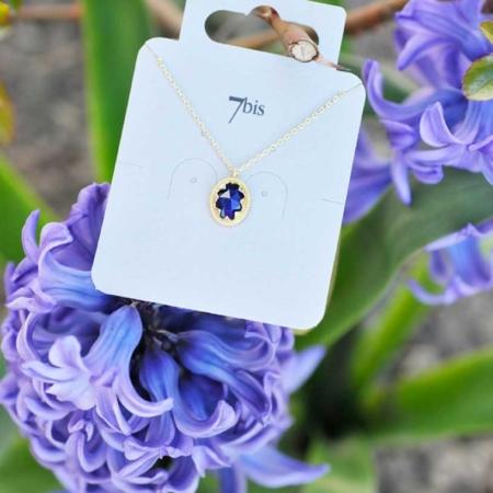 170061BLEDOR Collier Pierre Ovale Bleue Médaillon Lapis-lazuli