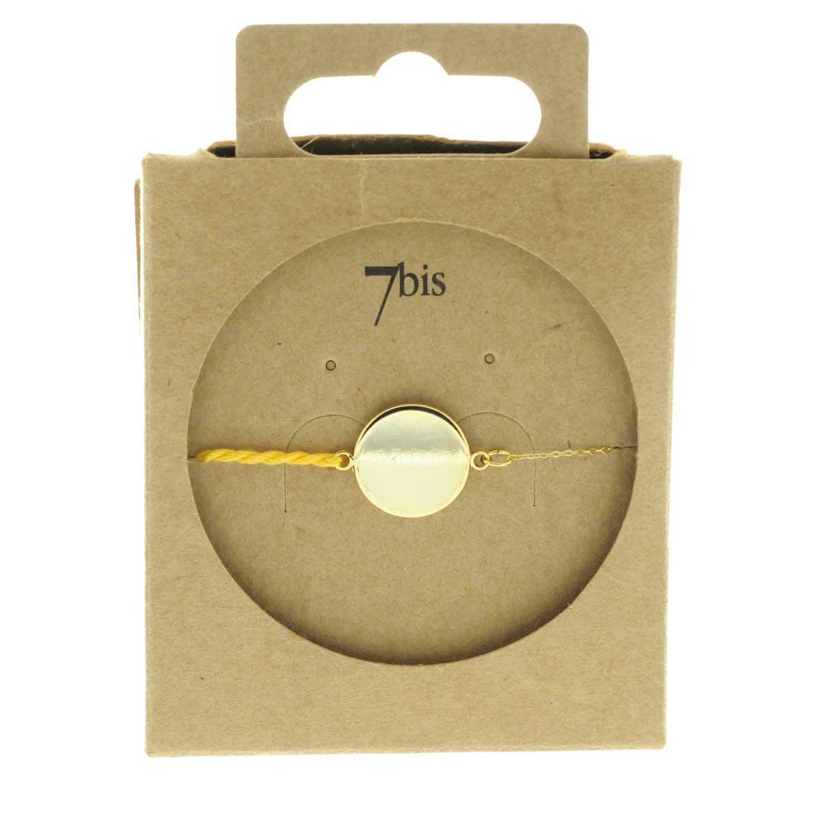 Bracelet pastille ronde dor fil torsad jaune e shop for Une nuit a paris
