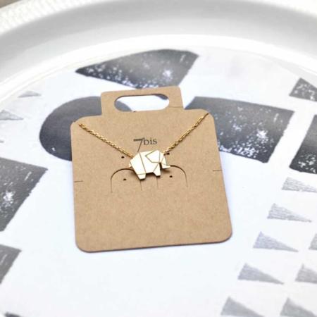137834DOR Collier Éléphant Doré Plein Origami