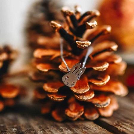 337550ARG Bracelet Lapin Argenté De Profil Mignonerie